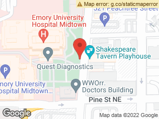 Map showing location of EUHM @ Conservatory Entrance (off Peachtree St) (101)