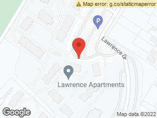 Map showing location of Lawrence Apartments