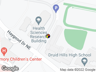 Map showing location of Andrews Cir @ Health Sci Research Bldg (Northbound)