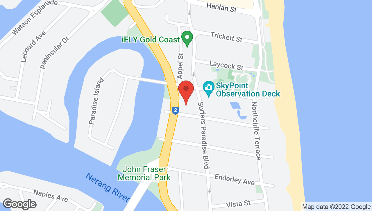 Map of voco Gold Coast