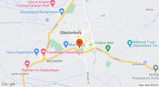 Aerial view of Glastonbury Tor