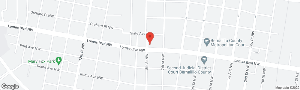 Map of the law firm Serna Law Offices