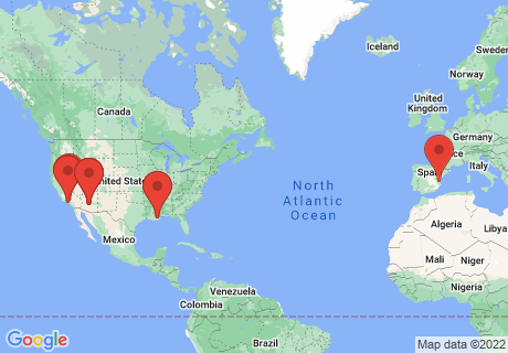 Map of the locations where movies in this collection were filmed.