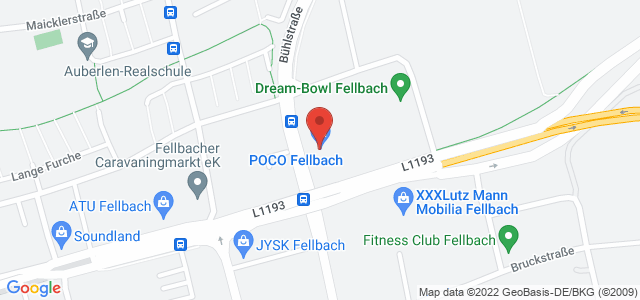 Karte zum POCO Einrichtungsmarkt Fellbach nicht verfügbar