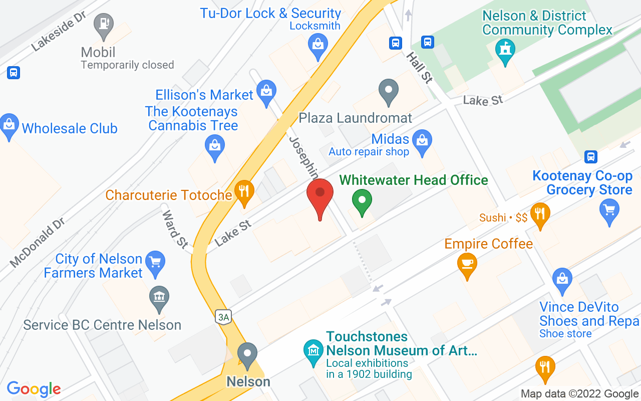 Map of F12 Kootenays Office