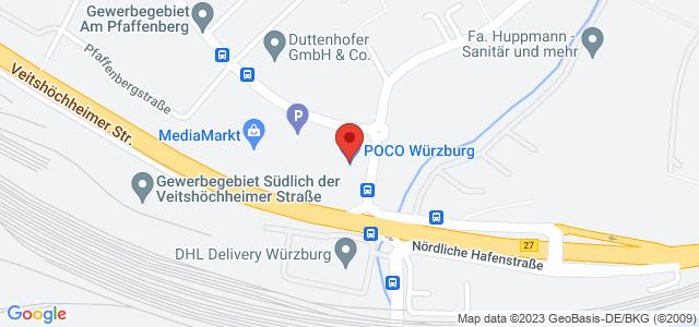 Karte zum POCO Einrichtungsmarkt Würzburg nicht verfügbar