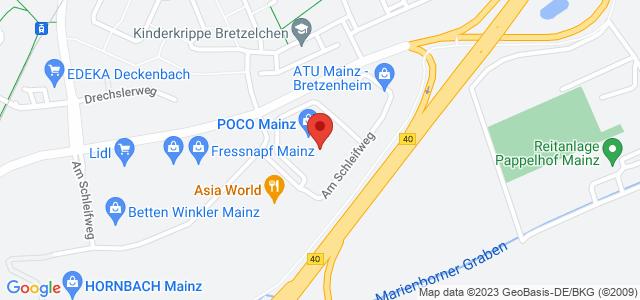 Karte zum POCO Einrichtungsmarkt Mainz nicht verfügbar
