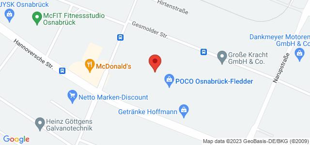 Karte zum POCO Einrichtungsmarkt Osnabrück-Fledder nicht verfügbar