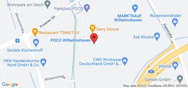 Karte zum POCO Einrichtungsmarkt Wilhelmshaven nicht verfügbar