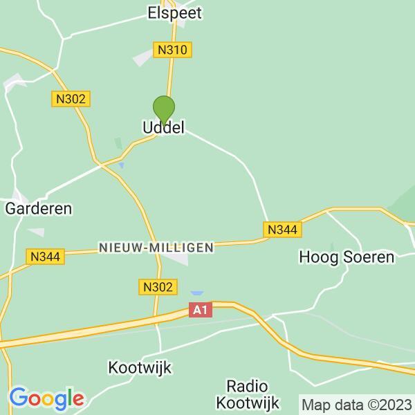 Werkgebied van onze bestrijder in Uddel
