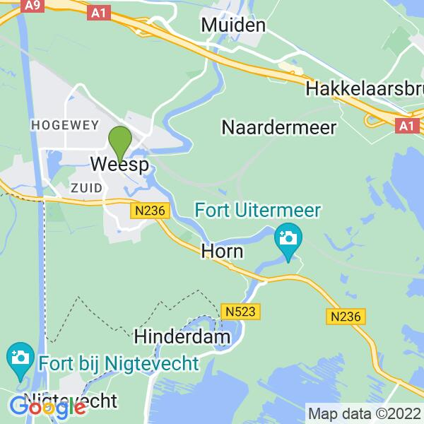 Werkgebied van onze bestrijder in Weesp