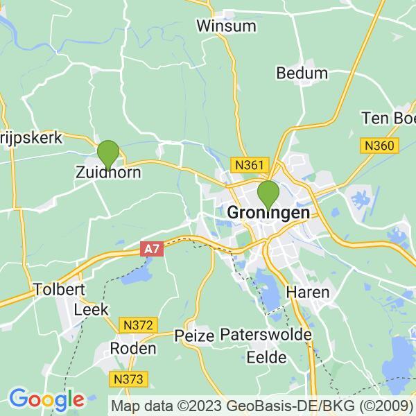 Werkgebied van onze bestrijder in Groningen
