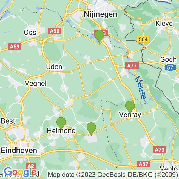Werkgebied van onze bestrijder in Helmond