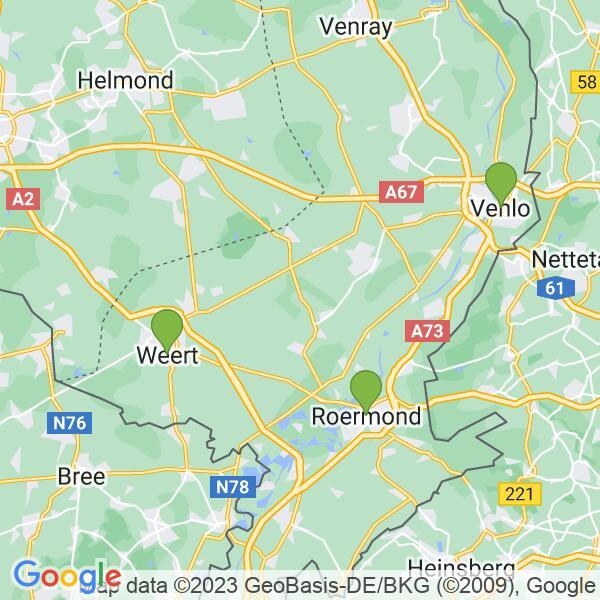 Werkgebied van onze bestrijder in Roermond