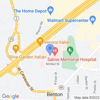 Saline Memorial Hospital on a map