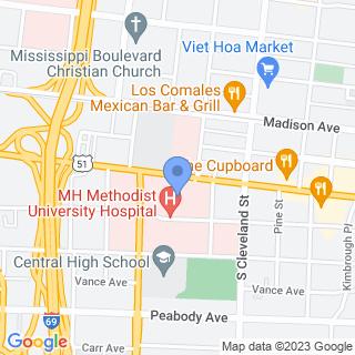 Methodist Healthcare Memphis Hospitals on a map