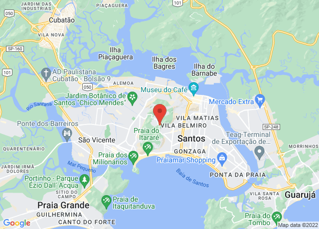 Map showing the location of Santos