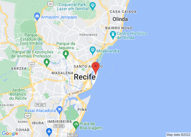 Map showing the location of Recife