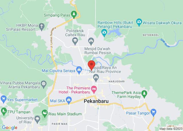Map showing the location of Pekanbaru