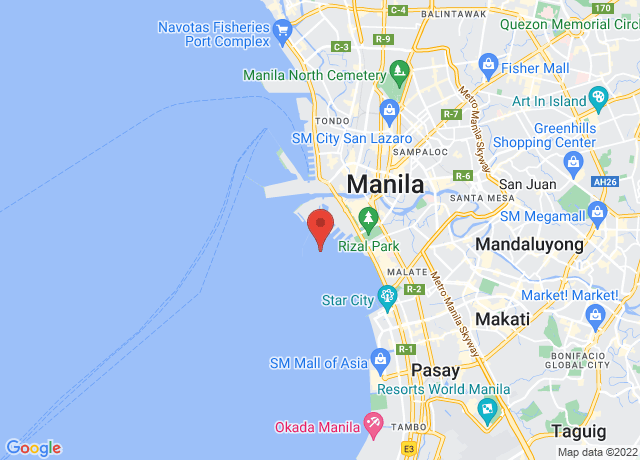 Map showing the location of Manila South Harbor