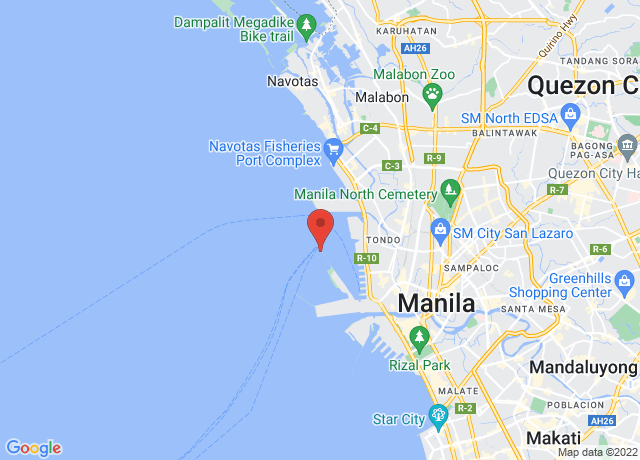 Map showing the location of Manila