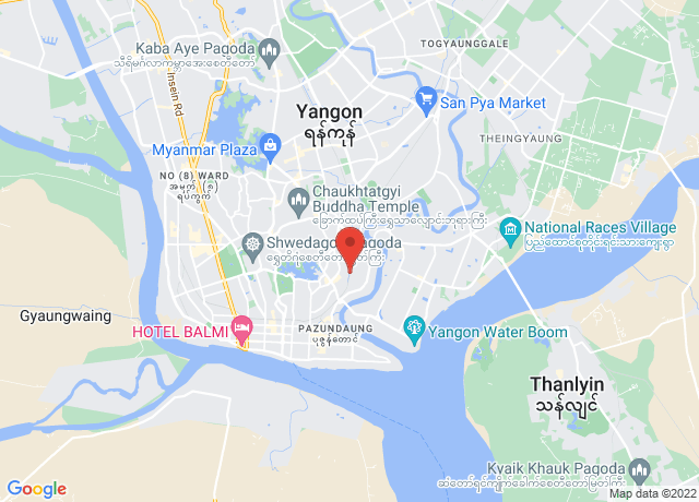 Map showing the location of Yangon