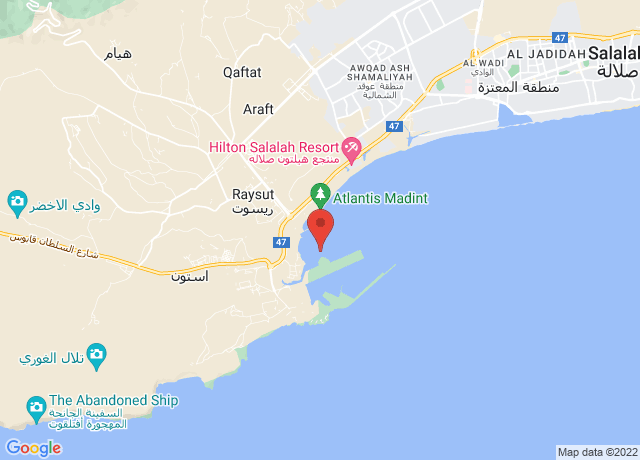 Map showing the location of Salalah