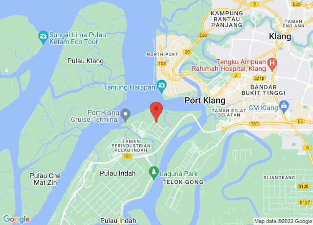 Map showing the location of Port Klang