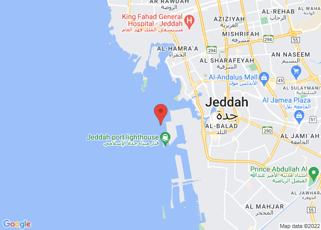 Map showing the location of Jeddah