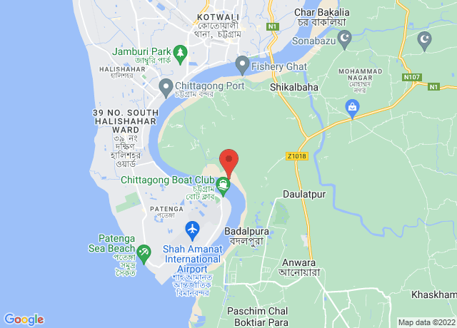 Map showing the location of Chittagong