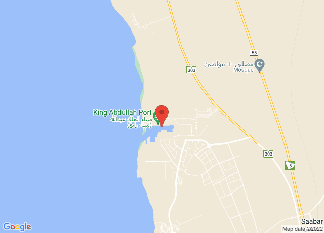 Map showing the location of King Abdullah