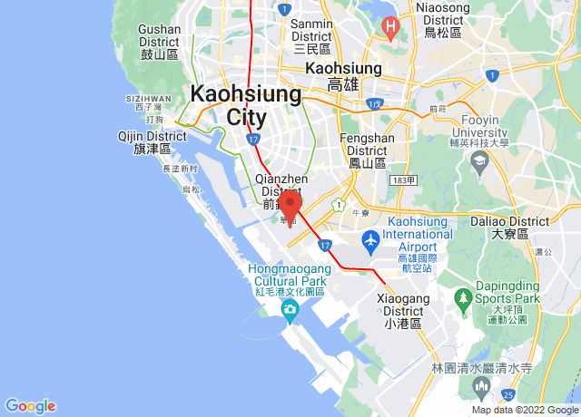 Map showing the location of Kaohsiung
