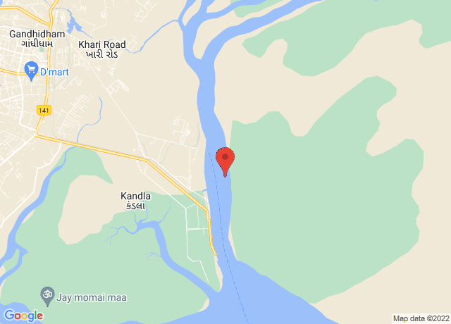 Map showing the location of Kandla