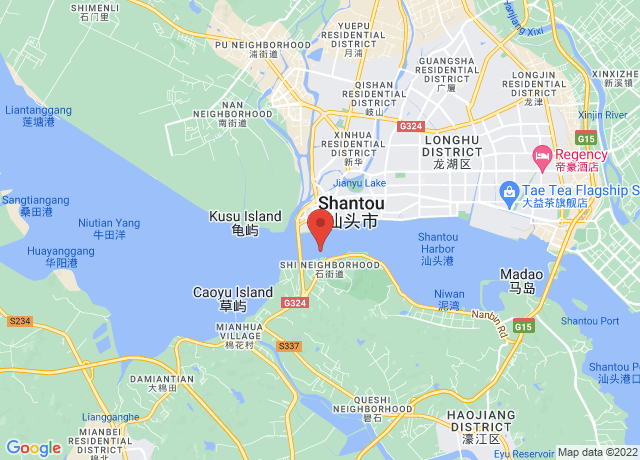 Map showing the location of Shantou