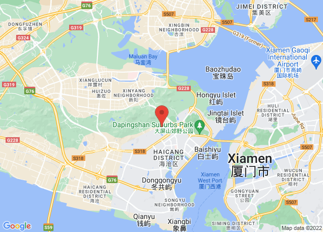 Map showing the location of Xiamen