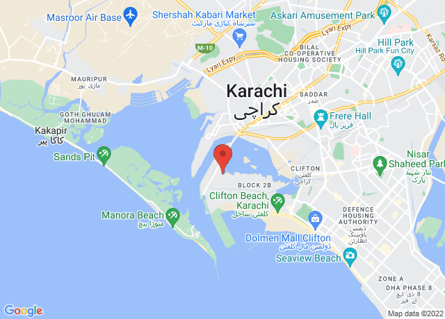 Map showing the location of Karachi