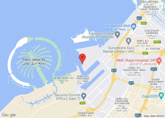 Map showing the location of Jebel Ali