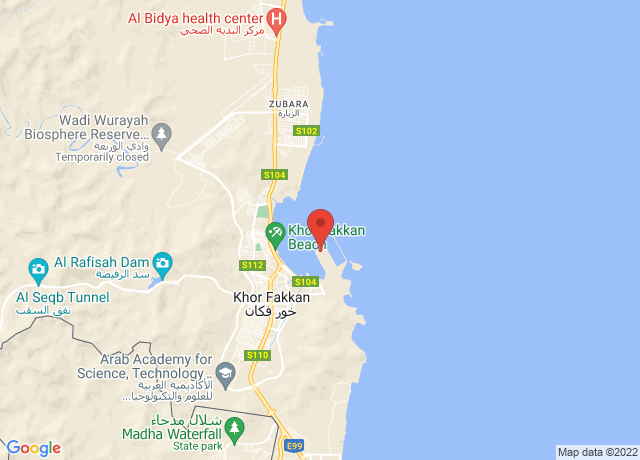 Map showing the location of Khor Fakkan