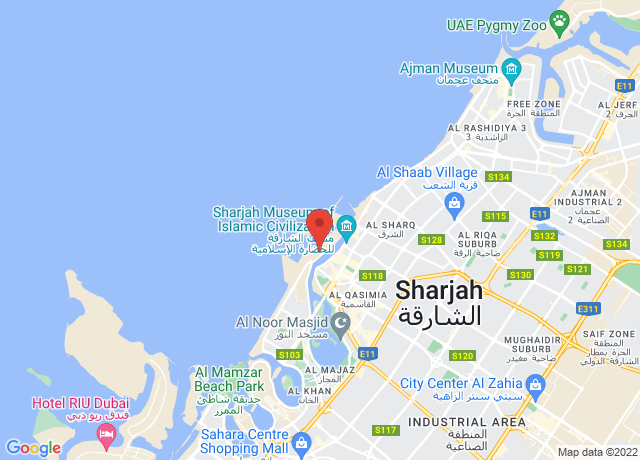 Map showing the location of Sharjah