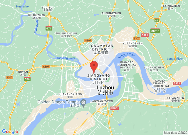 Map showing the location of Luzhou