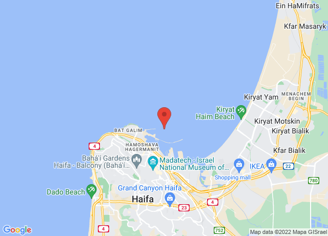 Map showing the location of Haifa