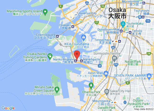 Map showing the location of Osaka