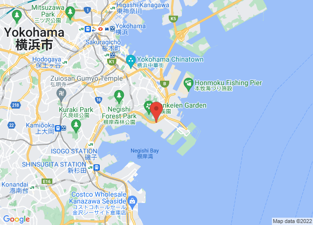 Map showing the location of Yokohama