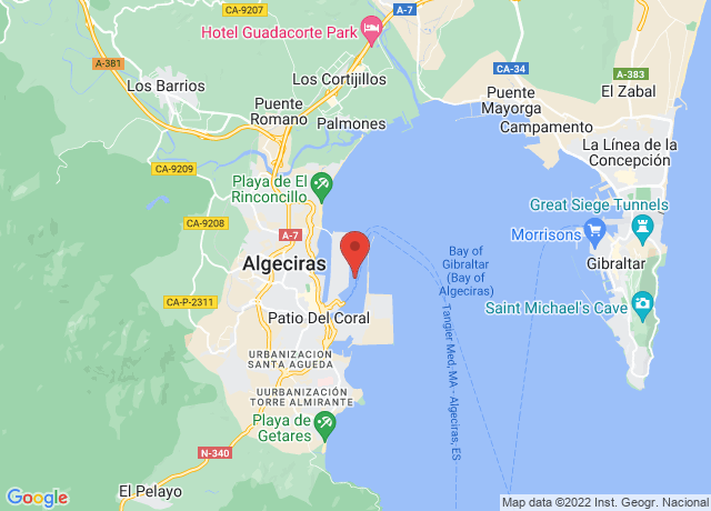 Map showing the location of Algeciras
