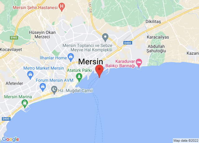 Map showing the location of Mersin