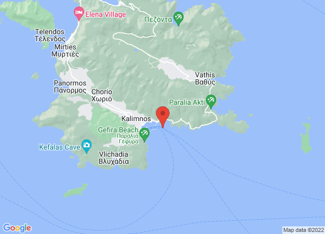 Map showing the location of Kalymnos