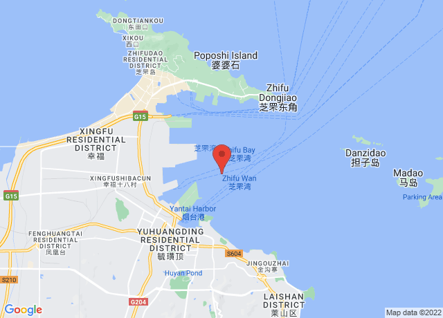 Map showing the location of Yantai