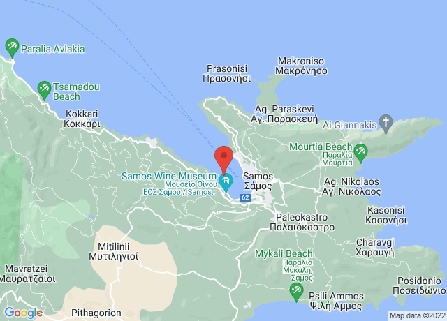 Map showing the location of Samos