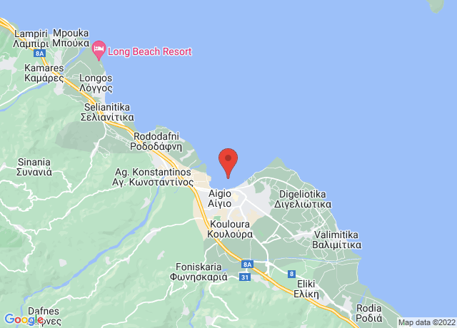 Map showing the location of Aigio