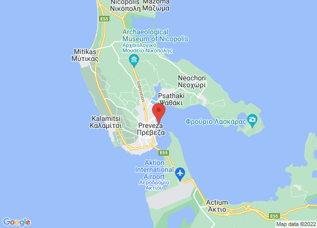 Map showing the location of Preveza
